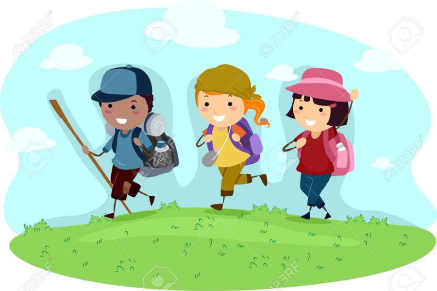 Illustration camp cartoon hiking